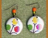 CIRCLE BIRDS button earrings