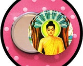"""BUDDHA 2.25 inch pocket MIRROR, button or magnet 2 1/4"""" size"""