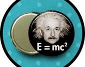 """Albert Einstein 2.25 inch pocket MIRROR, button or magnet 2 1/4"""" size"""