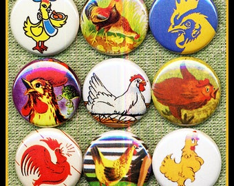 """9 vintage Chickens, Roosters and Hens 1"""" inch buttons, medallions or magnets SET A"""