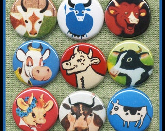 """9 vintage COWS 1"""" inch buttons, medallions or magnets SET A"""