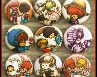 """9 cute Greeting Card KIDS 1"""" inch buttons, medallions or magnets SET A"""
