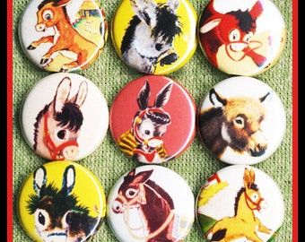 "9 vintage DONKEY 1"" inch buttons, medallions or magnets SET A"