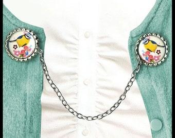 Bird on Flowers Sweater Guard Clip