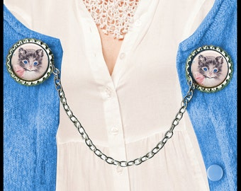 adorable KITTY cat Sweater Guard Clip