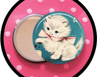 "adorable KITTEN 2.25 inch pocket MIRROR, button or magnet 2 1/4"" size"