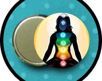 "chakra 2.25 inch pocket MIRROR, button or magnet 2 1/4"" size"