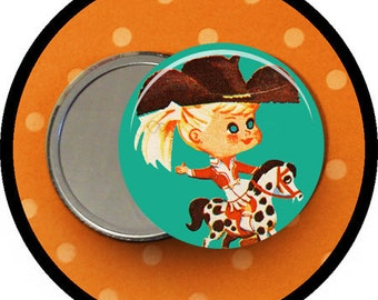 "Adorable COWGIRL riding HORSE 2.25 inch pocket MIRROR, button or magnet 2 1/4"" size"