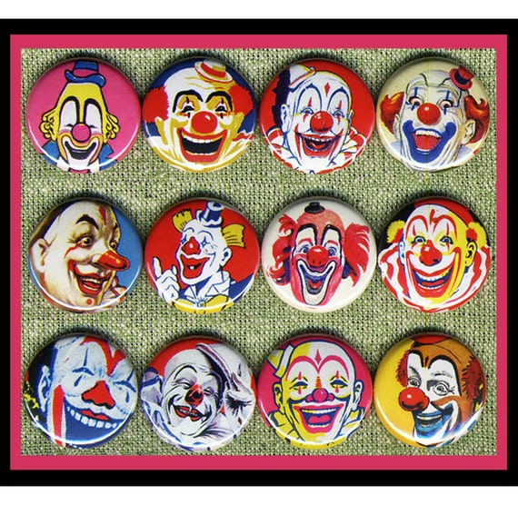 """12 kinda CREEPY vintage clowns 1"""" inch buttons, medallions or magnets SET B"""