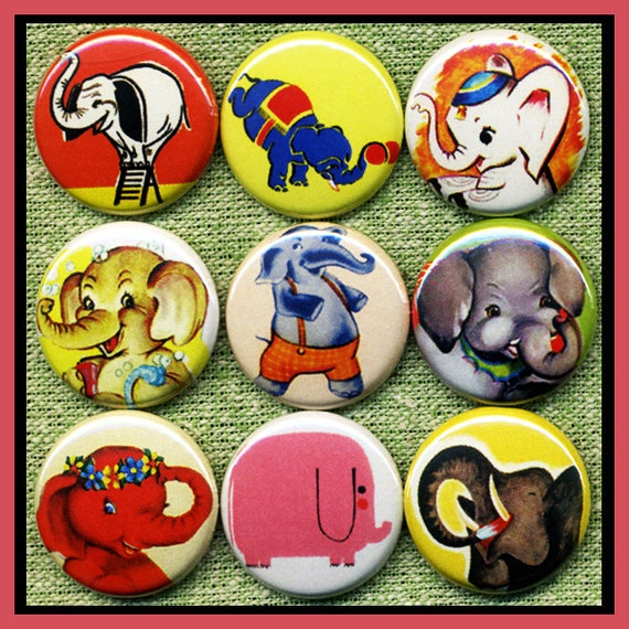 """9 awesome vintage ELEPHANTS 1"""" inch buttons, medallions or magnets SET B"""