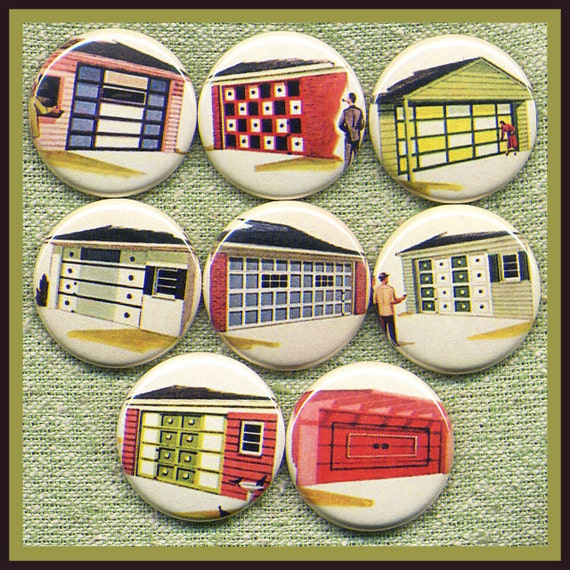 "8 retro GARAGE DOORS 1"" inch buttons, medallions or magnets"