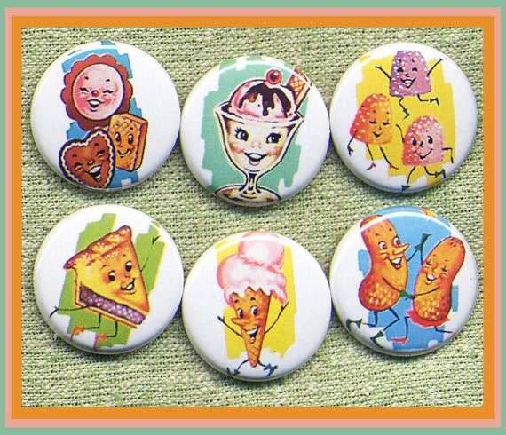 """6 happy lil TREATS 1"""" inch buttons, medallions or magnets"""