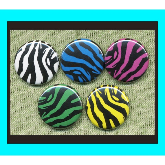 """5 ZEBRA print 1"""" inch buttons, medallions or magnets"""