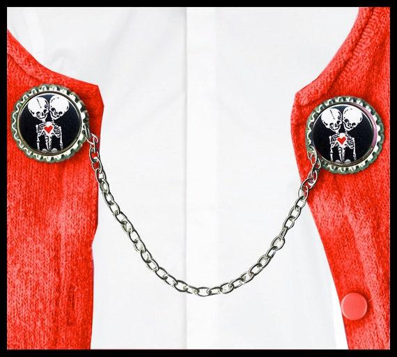 siamese twin SKELETON Sweater Guard Clip