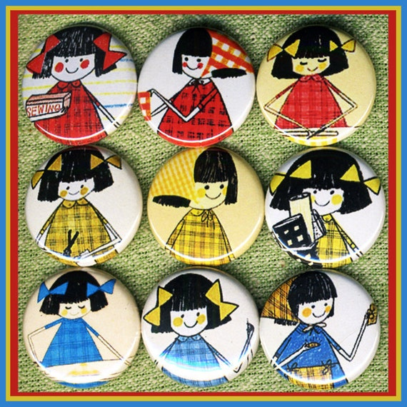 "9 learning to SEW girl 1"" inch buttons, medallions or magnets"