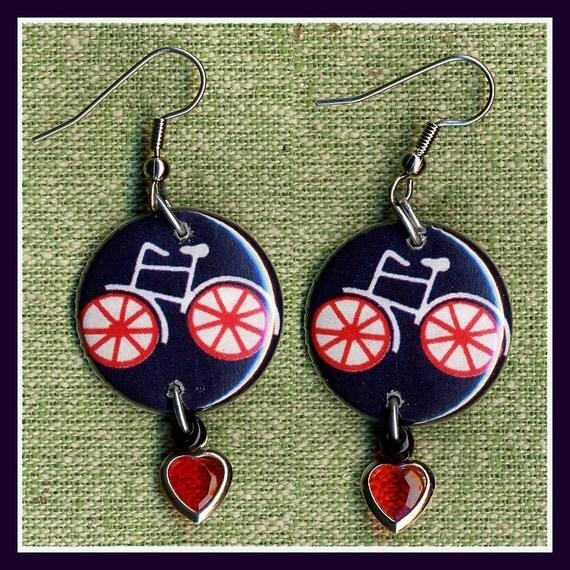 LOVE 10 speed BIKES button earrings