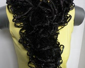 Black and Silver Hand Knit Scarf Ruffle Lace Scarf