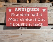 antiques wood sign