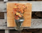 Country Shabby Chic Rustic Charm Mason Jar Wall Sconce Organizer