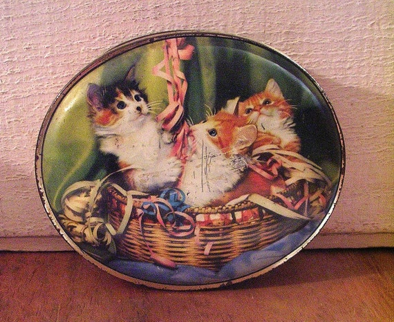 Vintage Confection Tin with Kittens in a Basket and Pink Base with Polka Dots - So Sweet