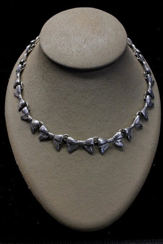 RESERVED 1950s Original Margot de Taxco Sterling Silver Necklace with Bow Motif