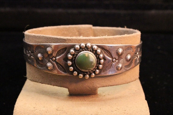 RESERVED - 1940s American Indian Turquoise and Sterling Silver Cuff Bracelet