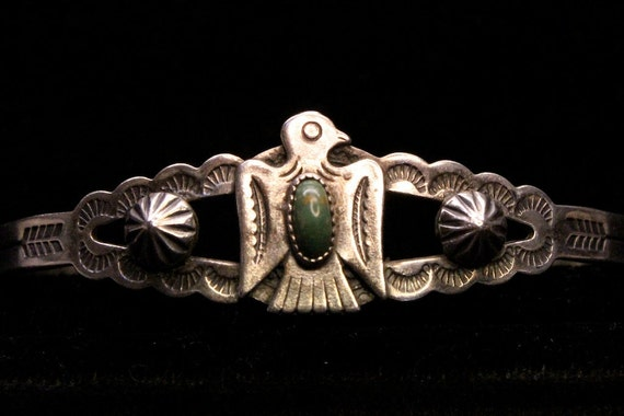 1950s American Indian Bell Trading Company Sterling and Turquoise Cuff Bracelet
