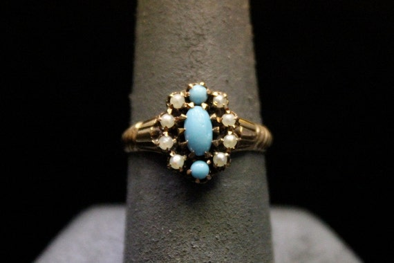 Original Victorian 9k Gold, Seed Pearl, and Blue Glass Ring - Size 7