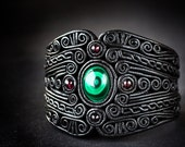 Leather Bracelet, Unique design Wristband, Semiprecious stones, Filigree, Malachite, Garnets, Hand Made, Black, Cuff
