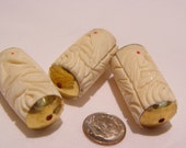 VIntage Bone beads, 1970's hand carved 38x19 mm