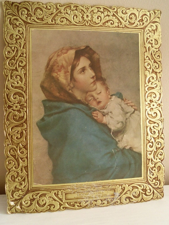 Vintage Madonna and Child Picture Paper Frame