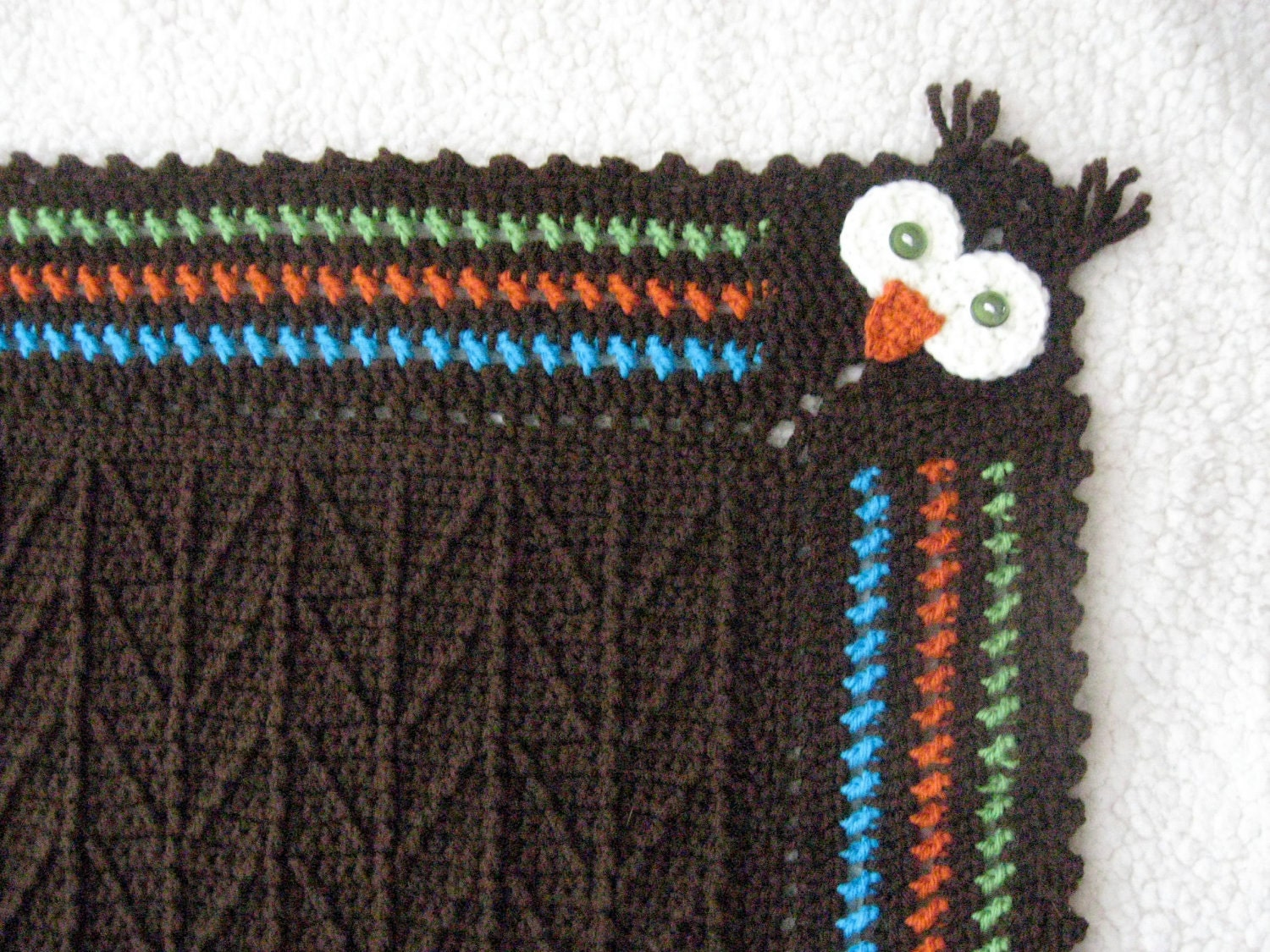 Unique Crocheted Owl Blanket With Branch Stitch