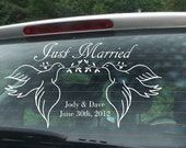 Just Married Decal - Custom design Just Married Sticker - wedding care decal