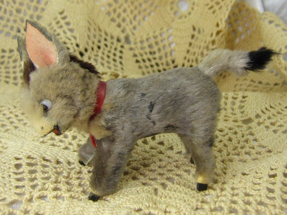 RESERVED FOR JANET  Vintage Miniature Wood Carved Donkey Covered With Fur