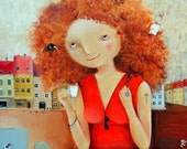 "Print of oil painting on canvas by MONICA BLATTON ""Perm"" signed by the artist, pop art, fine art"