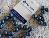 18 Dark Blue Czech Glass Satin Beads 8mm