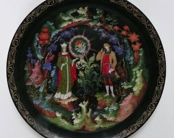 Bradex Palekh Russian Fairy Tale Stone Flower Plate