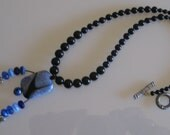 Hand Crafted Blue dragonskin drusy & onyx necklace
