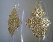 Gold Lace Chandelier Earrings