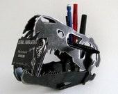 Steel Dinosaur Skull T-Rex Metal Desk Decoration CNC Plasma Cut Velociraptor Business Card Holder