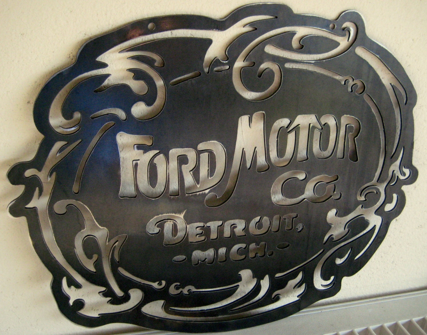original ford motor co logo steel sign garage by. Black Bedroom Furniture Sets. Home Design Ideas