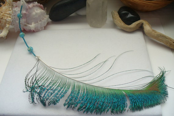 Southwestern, Bohemian, Boho, Hippie Peacock Feather Hair Extension Accessory with Wig Clip, Millefiori and Seed Beads for Summer