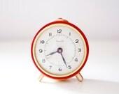 Vintage alarm clock - red golden - made in Soviet Union