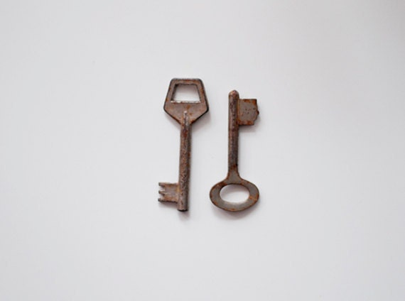 Vintage old keys - set of 2 - made in Soviet Union
