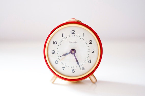 Vintage alarm clock - red golden - made in Soviet Union