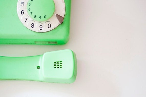 Vintage Rotary phone - Mint green - Vintage Home Decor