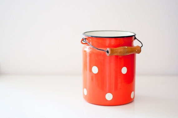 Vintage Enamel Milk Can - orange polka dot