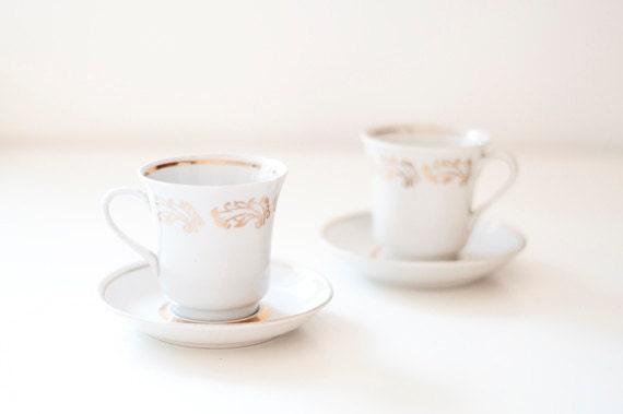 SALE 10% 0FF - Vintage coffee cups - set of 2