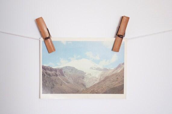 Vintage soviet postcard - sky and mountains - unused