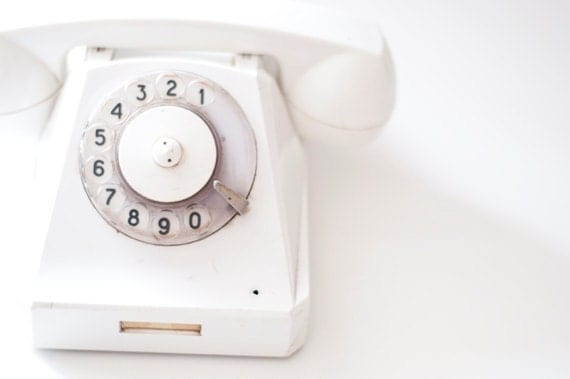 Vintage Rotary phone - White - Vintage Home Decor - made in Soviet Union